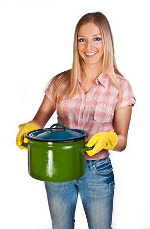 Woman with cooking pot photo