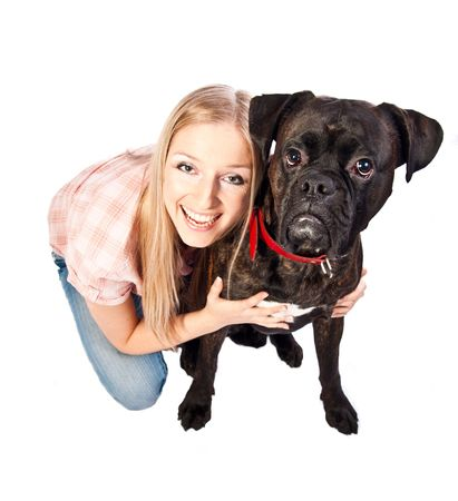 Woman with boxer dog photo