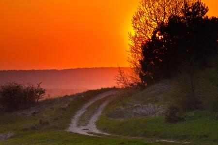 Sunset road rural landscape Stock Photo - 6916215