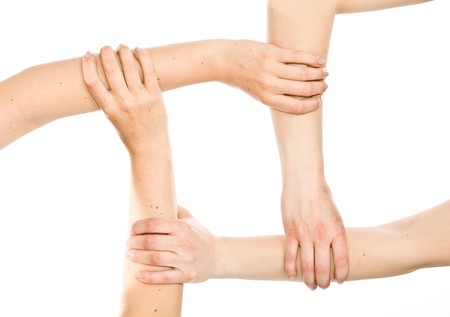 Interlocking hands photo