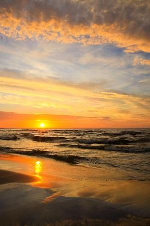 cloudiness: Beautiful sunset at sea