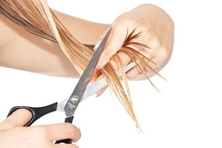hair short: Mujer corte cabello  Foto de archivo