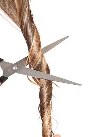 trimming scissors: Woman cutting hair