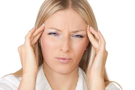 facial gestures: Mujer con dolores de cabezales