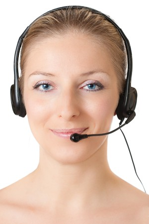 Woman with headphones and microphone Stock Photo - 7012796