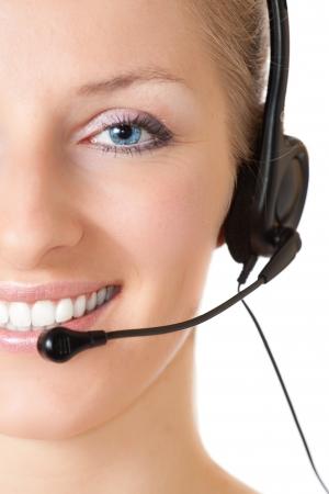 hotline: Vrouw met hoofd telefoon en microfoon