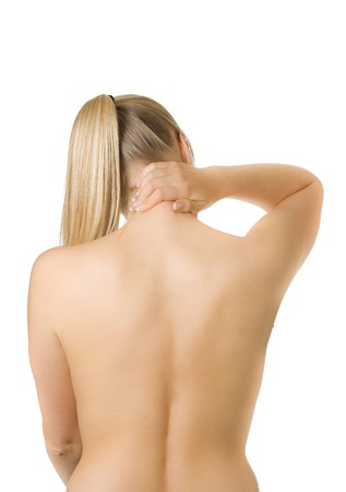 gripping hair: Woman with spine and back pains