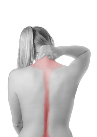 pains: Woman with spine and back pains