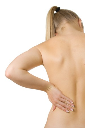 Woman with spine and back pains