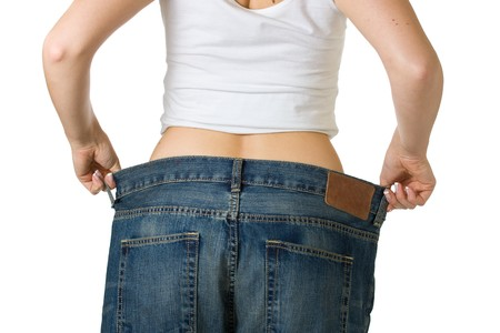 Woman in too big jeans Stock Photo - 7021197