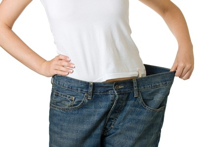 too: Woman in too big jeans