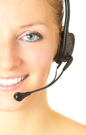 Woman consultant with headset and mic isolated Stock Photo - 7021340