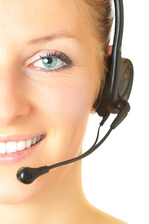 Woman consultant with headset and mic isolated photo