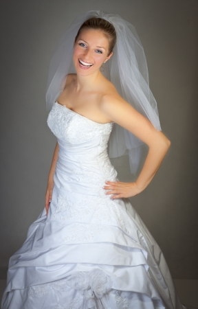 Bride woman in wedding dress in studio Stock Photo