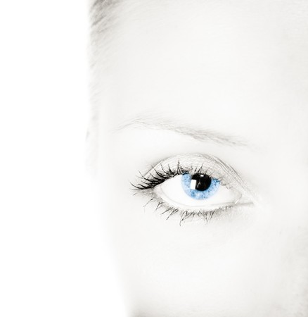 Woman blue eye and black white face photo