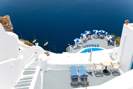 santorini: Santorini beautiful volcanic island in Greece landscape with blue churches, windmills and volcanic caldera