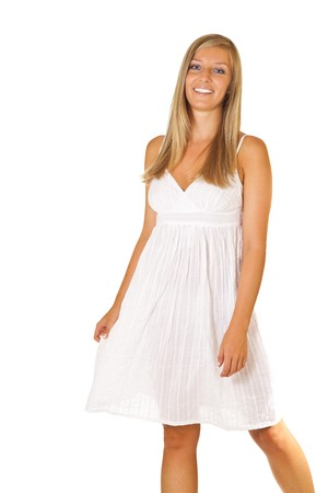 Tan blond caucasian woman in white dress isolated photo
