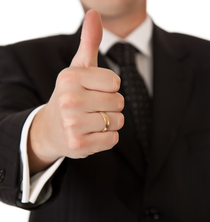 proffesional: Business man in suit thumbs up on white isolated background