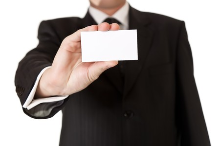 proffesional: Business man holding blank card on white isolated background