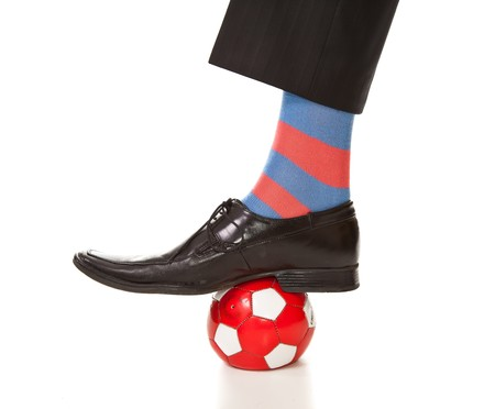 Businessman and soccer photo