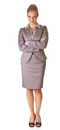secretaria sexy: Empresaria rubia del C�ucaso en traje de fondo aislado blanco