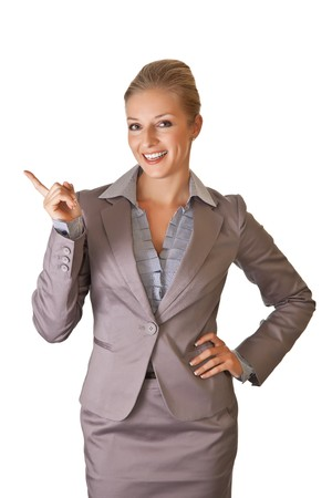 Caucasian blond businesswoman in suit on white isolated background photo