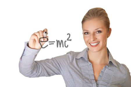 Caucasian blond business woman writing on white isolated background photo