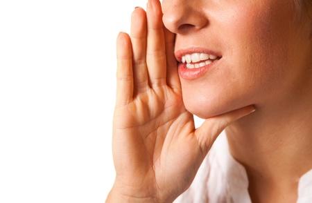 gossip: Schreeuwen vrouw mond close-up