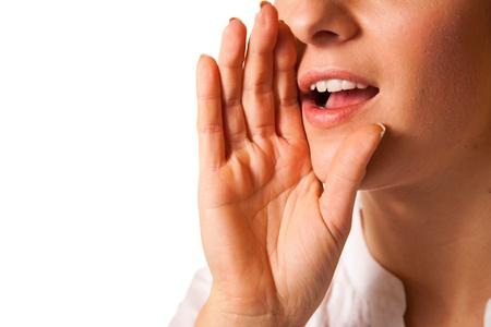 hearsay: Yelling woman mouth closeup