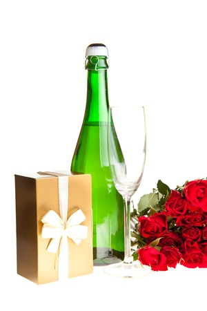 Valentines day roses and champagne wine isolated on white photo