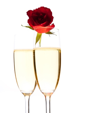 Valentine's day roses and champagne wine isolated on white Stock Photo - 8582154