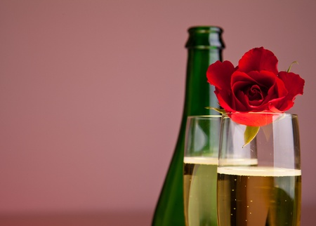 valentine's day: Valentines day roses and champagne wine isolated on white