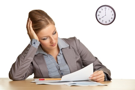 spiritless: Businesswoman bored in office isolated on white Stock Photo