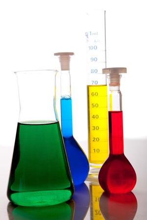 boiling tube: Labolatory glassware with colorful fluids isolated on white