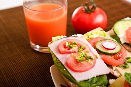 Different sandwiches with vegetables and cheese isolated photo