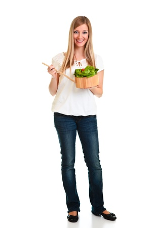 Woman with salad isolated on white photo