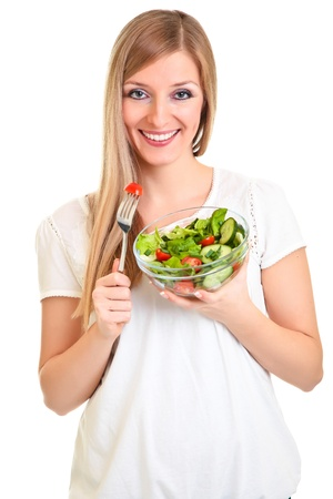 Woman with salad isolated on white Stock Photo - 8968420
