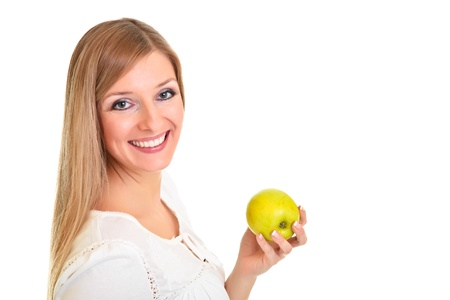 Blond caucasiam woman holding fruits isolated photo