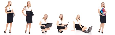Woman in office different poses isolated on white Stock Photo - 8968379