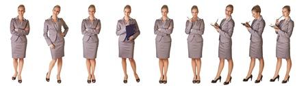 poses de modelos: Mujer en diferentes poses de oficina aislados en blanco