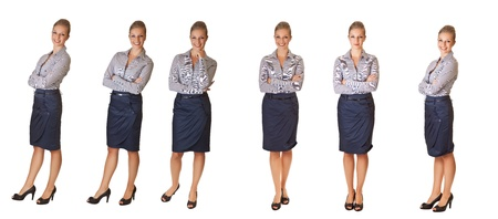Woman in office different poses isolated on white photo