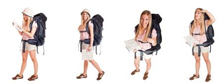 tour guide: Ni�a de mochila aislado en poses diferentes blancos Foto de archivo