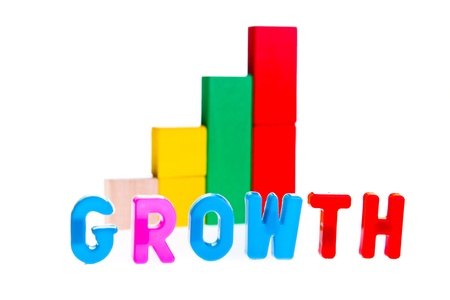 Growth concept from wooden toy blocks photo