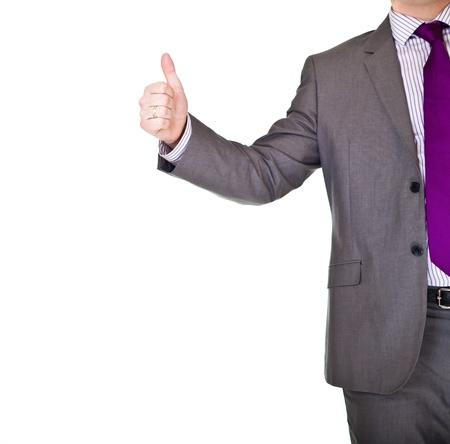 buen trato: Hombre de negocios en el apret�n de manos de traje aislado en blanco Foto de archivo