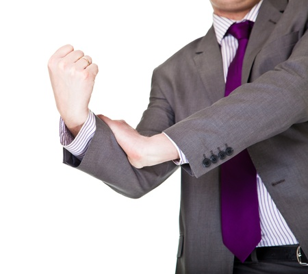 Man in suit showing middle finger isolated on white photo