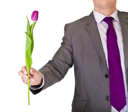 offering: Man in suit and tie holding tulip flower isolated on white