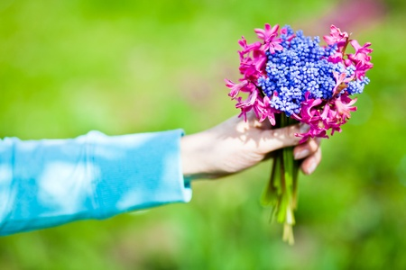 blosom: Woman holding flowers bouquet Stock Photo
