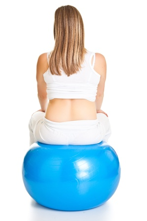 Pregnant woman excercises with gymnastic ball Stock Photo - 9566031