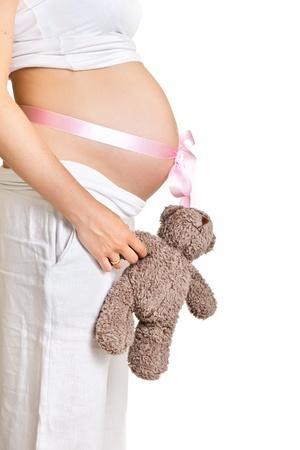 Pregnant woman isolated on white Stock Photo - 9620833