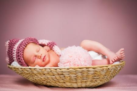Portrait of a newborn caucasian girl
